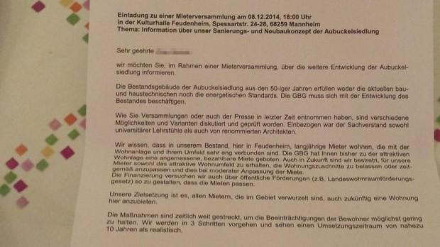 Um die Wogen zu glätten, lud die GBG alle betroffenen Mieter zu einer Versammlung zusammen   Foto: privat / BI Adolf-Damaschke-Ring