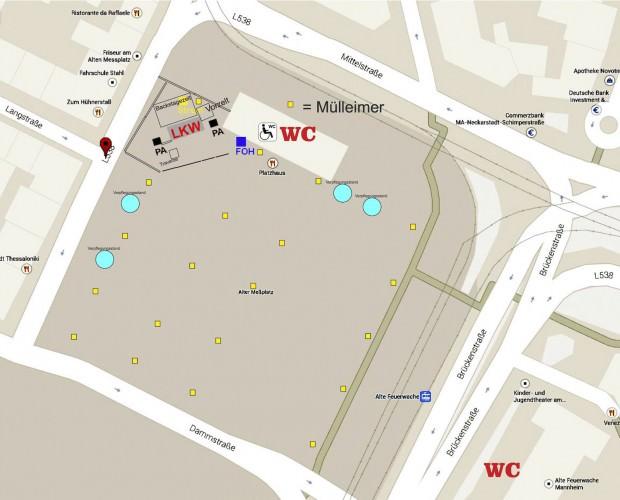 Ein Lageplan zur Orientierung auf dem Alten Messplatz. Klicken zum Vergrößern! | Bild: Mannheim sagt Ja!