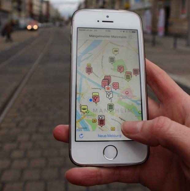 Die Mängelmelder-App in Aktion | Foto: Stadt Mannheim