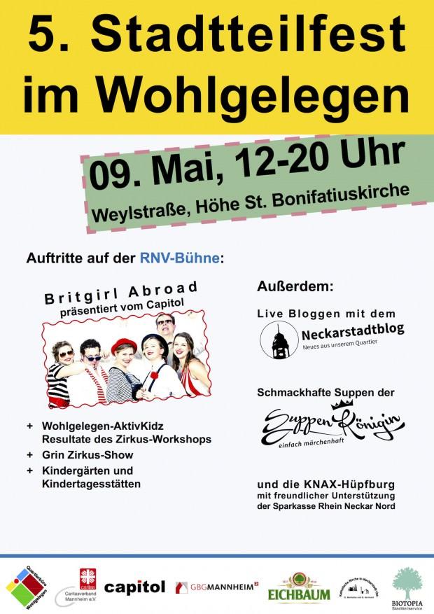 Ankündigungsplakat zum 5. Stadtteilfest im Wohlgelegen | Bild: Quartierbüro Wohlgelegen