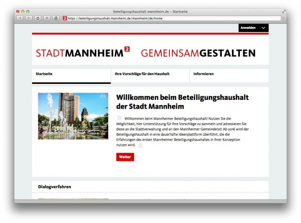 Screenshot: Webseite Beteiligungshaushalt (Foto: Dominik Rossbach, Stadtmarketing Mannheim)