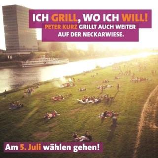 Auch im OB-Wahlkampf machte die SPD mit dem Thema Grillen Werbung für den nun wiedergewählten Dr. Peter Kurz | Bild: SPD-Wahlwerbung