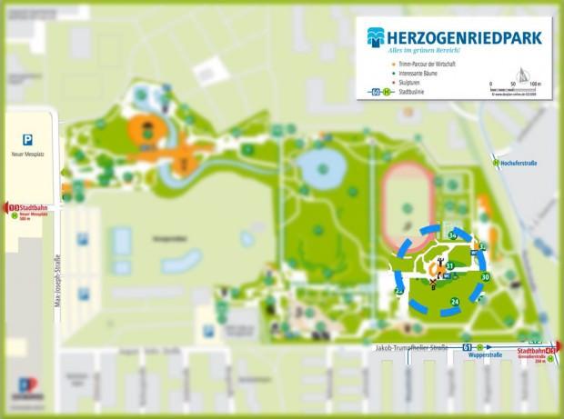 Die Konzertmuschel hat die Nummer 31 | Lageplan: Stadtpark Mannheim GmbH