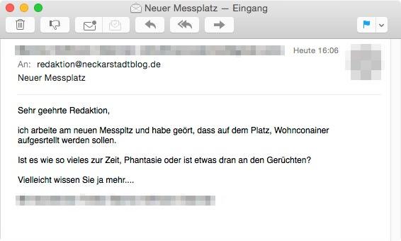 Heute erreichte uns diese E-Mail, die wir schnell beantworten konnten   Screenshot: Neckarstadtblog