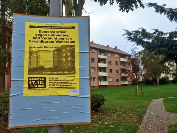 Die Häuser im Hintergrund sollen abgerissen werden, sobald alle Mieter aufgegeben haben | Foto: Neckarstadtblog