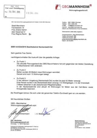 Das im Bürgerinformationssystem öffentlich einsehbare Antwortschreiben der GBG (Vorschaubild oben klicken, um das Original-PDF aufzurufen)