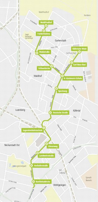 So verläuft die neue Stadtbahn Nord | Karte: Stadt Mannheim