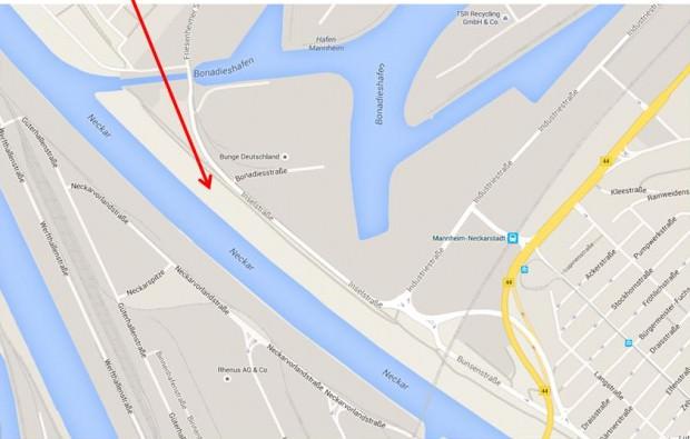 Fundort der Mütze | Karte: Polizeipräsidium Mannheim