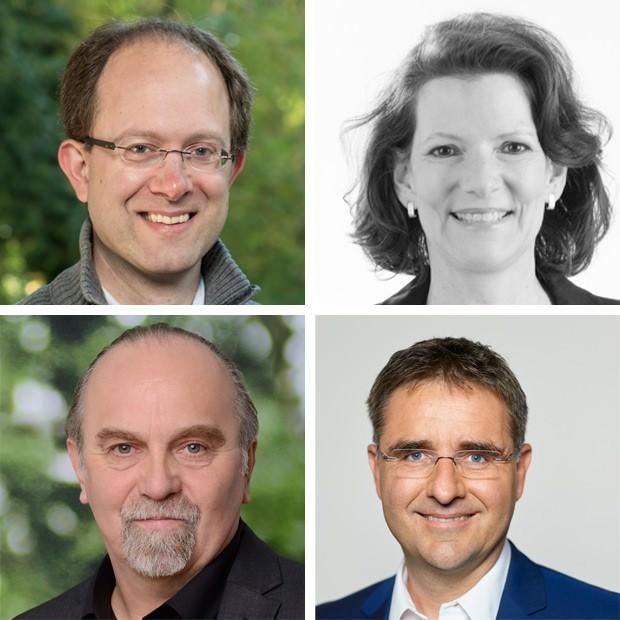 Im Uhrzeigersinn: Chris Rihm (CDU), Birgit Sandner-Schmitt (FDP), Stefan Fulst-Blei (SPD) und Gerhard Fontagnier (Bündnis 90/Die Grünen) | Fotos: Pressefreigaben