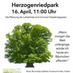 Baumfest: Pflanzung der Lutherlinde im Herzogenriedpark