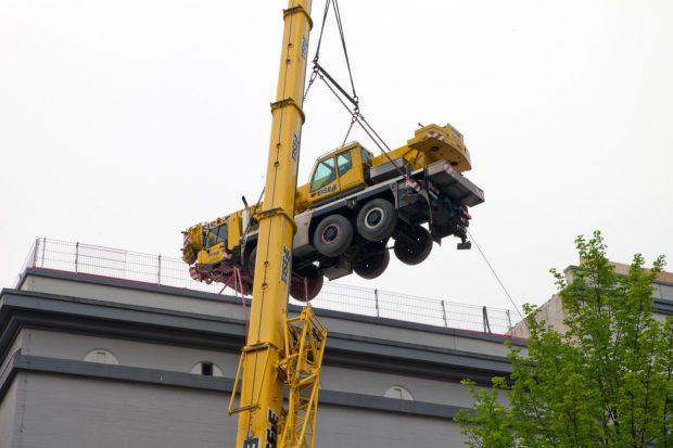 Spektakuläre Bauaktivität auf dem Dach des zukünftigen Marchivums | Foto: Kathrin Schwab, Stadtarchiv Mannheim