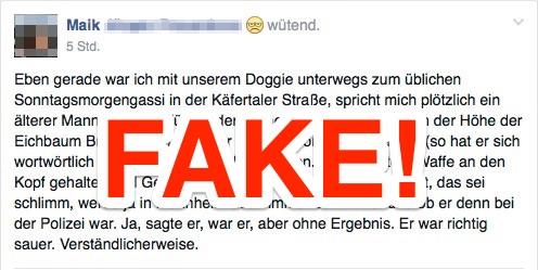 Screenshot eines Facebook-Eintrags über eine Straftat, die laut Polizei nie stattfand | Montage: Neckarstadtblog
