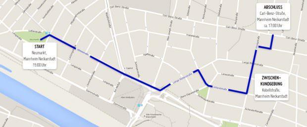 Die geplante Demo-Route | Karte: WGDS