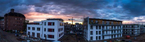 Sonnenuntergang über den drei gemeinschaftlichen Wohnprojekten | Foto: CKI Fotos