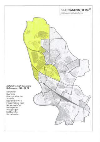 In der Neckarstadt-West und -Ost, mit Herzogenried und Wohlgelegen ist künftig wieder die Abfallwirtschaft zuständig und kein externer Dienstleister | Bild: Abfallwirtschaft Mannheim