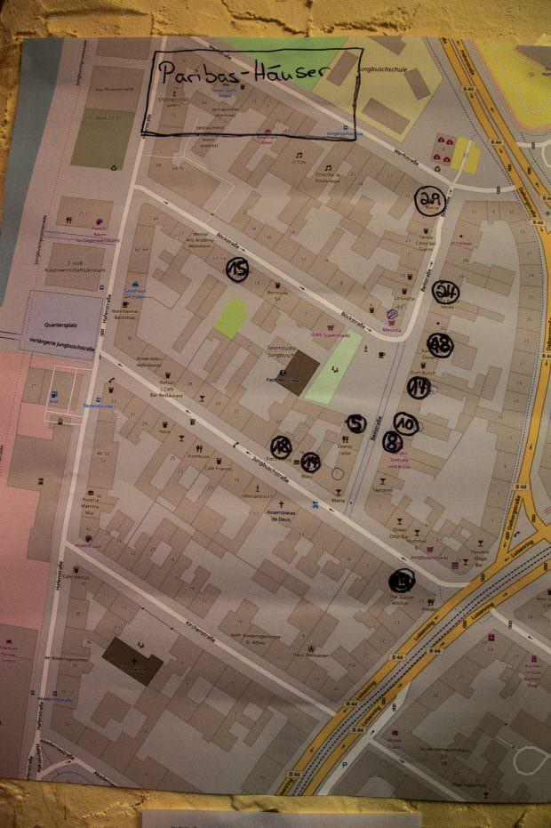 Auf dem Plan sind Immobilien eingezeichnet, die BNP Paribas vor kurzem gekauft hat | Foto: CKI