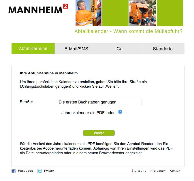 Ein Klick auf das Bild führt direkt zum Online-Abfallkalender. Nach Eingabe der eigenen Adresse, spuckt dieser den exakten Termin aus | Screenshot: mannheim.de