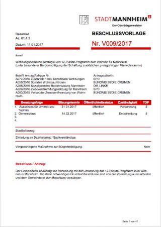 Beschlussvorlage V009/2017: Wohnungspolitische Strategie und 12-Punkte-Programm zum Wohnen für Mannheim (unter Berücksichtigung der Schaffung zusätzlichen preisgünstigen Mietraums) | Screenshot: Bürgerinformationssystem der Stadt Mannheim