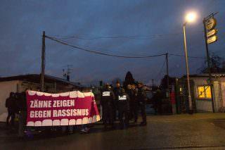 Kundgebung des Offenen Antifa Treffen vor dem Kleintierzüchterverein | Foto: CKI
