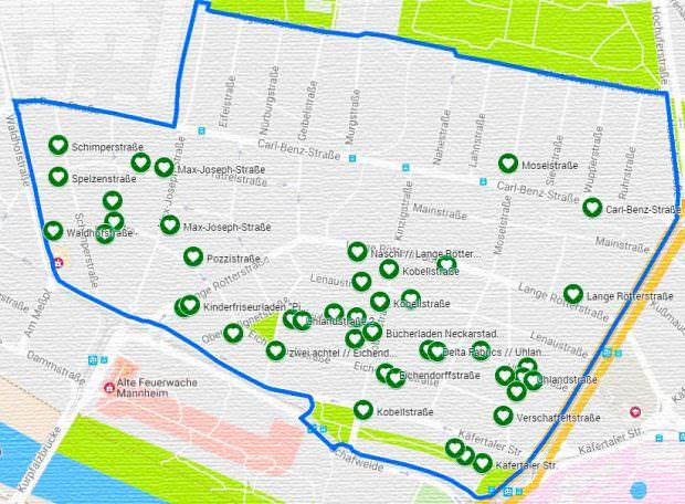 Der aktuelle Stand der Anmeldungen auf einer Übersichtskarte der Neckarstadt-Ost. Am Veranstaltungstag wird eine Karte mit den Adressen aller gemeldeten Hofflohmärkte freigeschaltet | Screenshot: Google Maps / Bearbeitung durch die Organisatorin und die Redaktion
