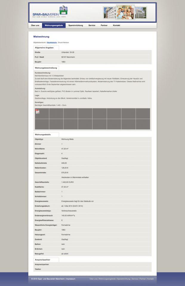 Bei Neuvermietung verlangt Spar+Bau an dieser Adresse 9,48 Euro pro Quadratmeter, also mehr als 2 Euro über der Mannheimer Durchschnittsmiete laut aktuellem Mietspiegel | Screenshot: Webseite von Spar+Bau