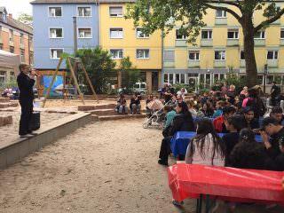 Bürgermeisterin Felicitas Kubala bei der Einweihung des Spielplatzes in der Ackerstraße | Foto: Thorsten Riehle