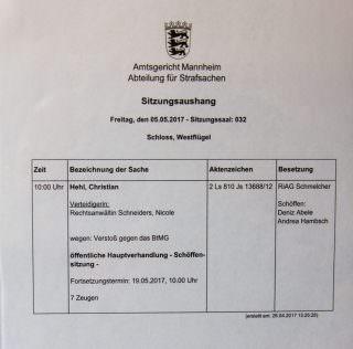 Die Verhandlung gegen Christian Hehl wird am 19. Mai fortgesetzt | Foto: CKI