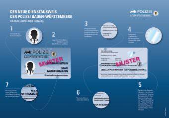 So sieht der Dienstausweis der Polizei Baden-Württemberg aus. Er hat mehrere Sicherheitsmerkmale   Bild: Land Baden-Württemberg
