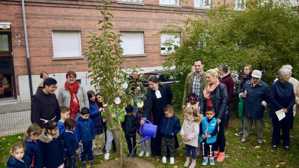 Die Evangelische Pfarrerin Judith Natho gießt das frisch gepflanzte Apfelbäumchen   Foto: M. Schülke