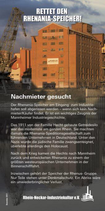Mit diesem Flyer macht der Verein auf den drohenden Abriss aufmerksam | Bild: Rhein-Neckar-Industriekultur e.V.