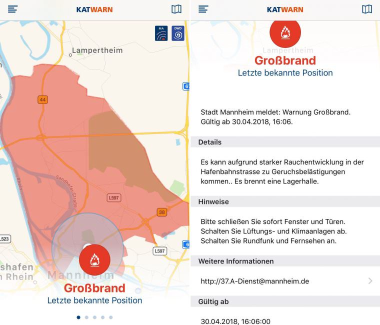 Warnmeldung der Stadt Mannheim | Screenshots: Katwarn