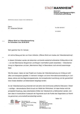 Das Antwortschreiben vom Sicherheitsdezernenten Christian Specht