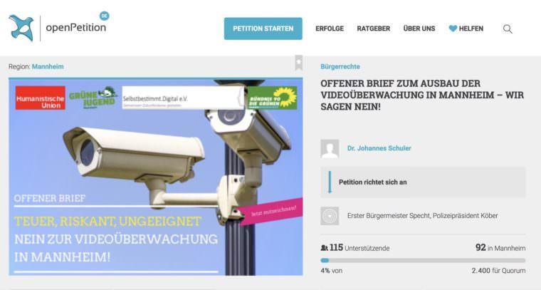 Screenshot der Petitionsseite zur Videoüberwachung | Quelle: openpetition.de