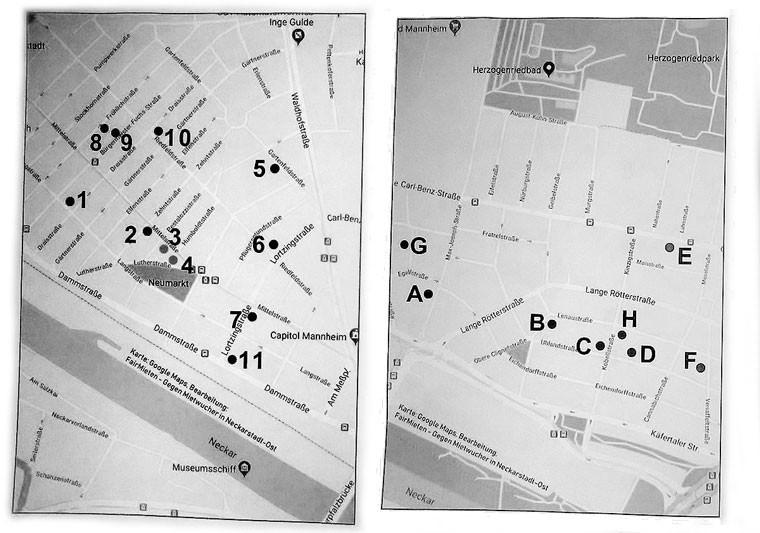 Links die Immobilienaufkäufe in Neckarstadt-West, rechts in Neckarstadt-Ost (Stand: Dezember 2018)   Karten: FairMieten