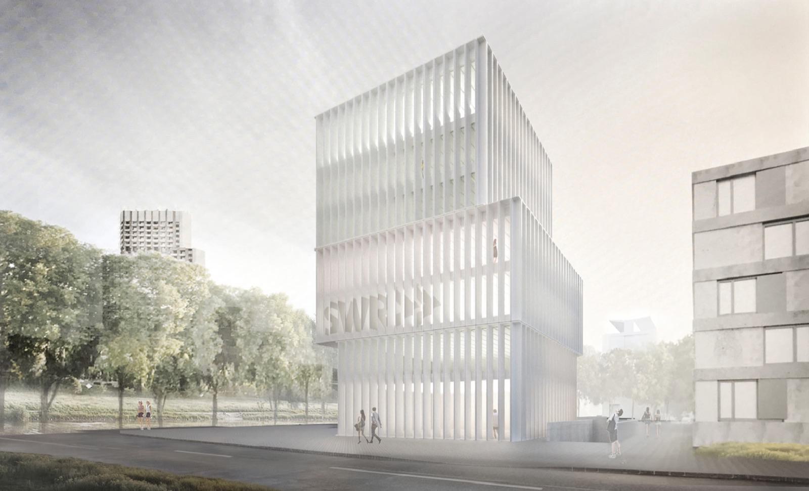 Der Entwurf des SWR-Neubaus an der Schafweide wurde auf der Bezirksbeiratssitzung präsentiert | Bild: SWR