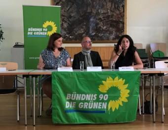 Auf der Pressekonferenz (v.l.n.r.): Leoni Neubauer, Dirk Grunert und Melis Sekmen | Foto: Grüne Mannheim