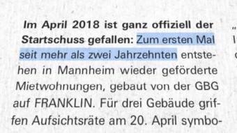 """""""Zum ersten Mal seit mehr als zwei Jahrzehnten entstehen in Mannheim wieder geförderte Mietwohnungen…"""""""