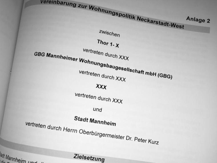 Mustervereinbarung der Stadt Mannheim mit der sogenannten Thor-Gruppe | Foto: M. Schülke