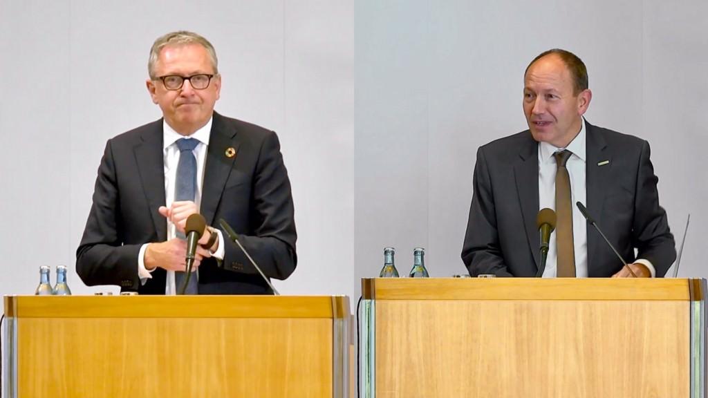 Oberbürgermeister Peter Kurz (links) und Kämmerer Christian Specht (rechts) hielten im Gemeinderat ihre Etatreden | Screenshots: YouTube