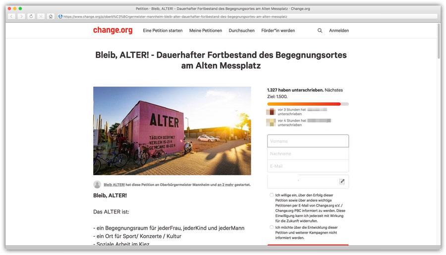 Screenshot der Petitions-Webseite zum Fortbestand von ALTER