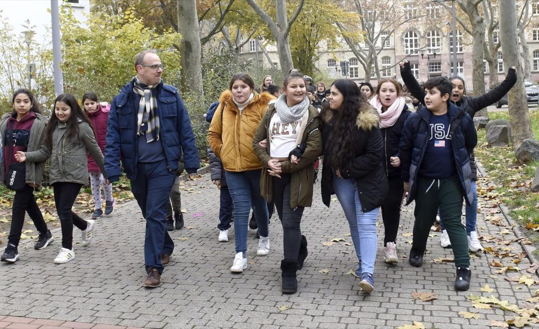 Die Einweihung des Kinderwegs am Erlenhof mit Bürgermeister Dirk Grunert | Foto: Thomas Tröster / Stadt Mannheim