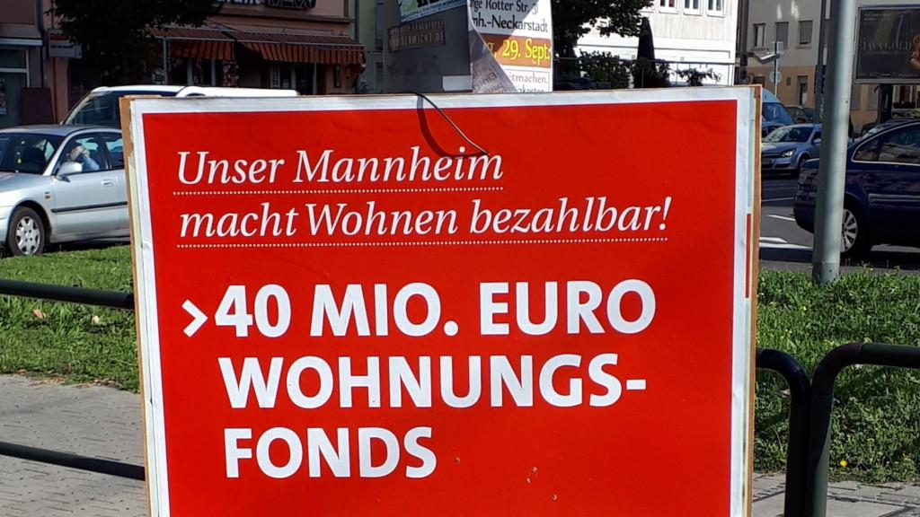 Die Mannheimer SPD wirbt mit der Forderung nach einem Wohnungsfonds von 40 Millionen Euro | Foto: KHP