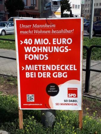 Die Mannheimer SPD warb mit der Forderung nach einem Wohnungsfonds von 40 Millionen Euro | Foto: KHP