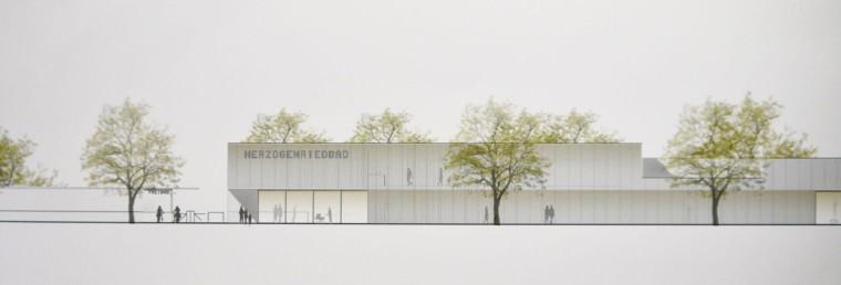 Illustration zum Entwurf für den Kombibad Neubau | Foto: M. Schülke, Zeichnung: Sacker Architekten