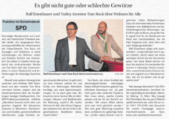Ausschnitt aus dem Amtsblatt (6. März 2014): SPD-Stadtrat und MWSP-Mitarbeiter Ralf Eisenhauer und Turley-Investor Tom Bock | Quelle: mannheim.de