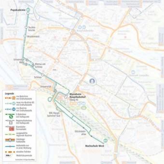Linienverlauf der neuen Buslinie 65 | Quelle: rnv-online.de