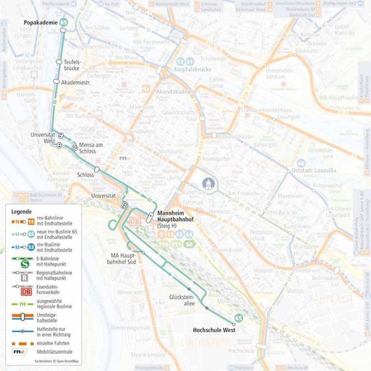 Linienverlauf der neuen Buslinie 65   Quelle: rnv-online.de