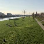 Spielplätze abgesperrt, auf der Neckarwiese viel los