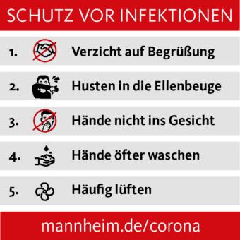 Sharepic Verhaltenstipps bzgl. Corona der Stadt Mannheim