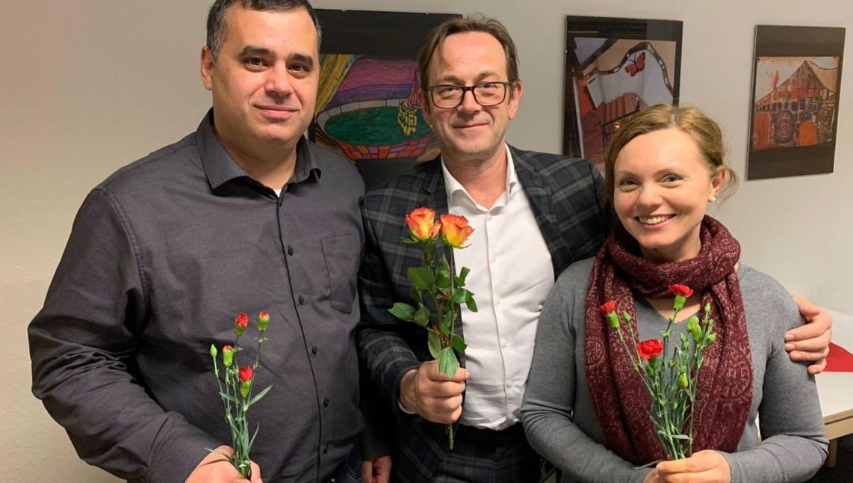 Thomas Meier (Mitte) mit den neuen stellvertretenden Vorsitzenden Taner Yildirim und Galina Scatova | Foto: SPD Neckarstadt-West